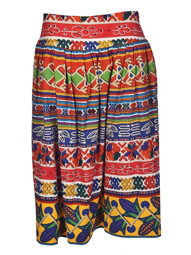 Stella Jean Embroidered Multi Design Midi Skirt In Multicolor