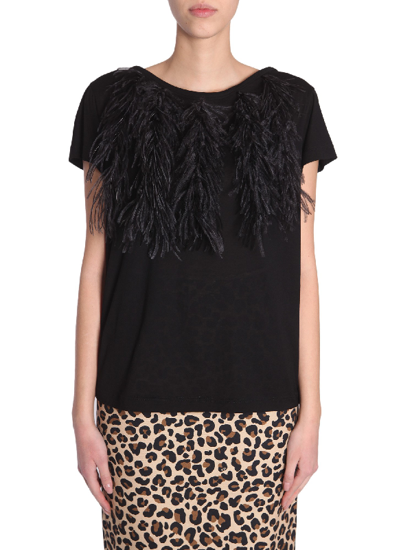 N°21 Cotton T-Shirt With Ostrich Feathers In Black