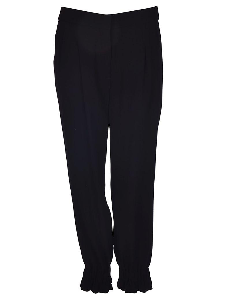 Sonia Rykiel Crepe Ruched Trackpants In Black