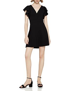 Bcbgeneration Ruffle-Sleeve Fit-And-Flare Dress In Black