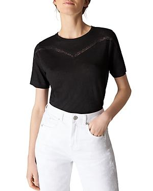 Whistles Lace Inset Tee In Black