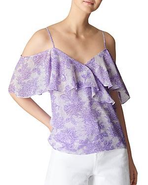 Whistles Batik Lily Cold-shoulder Top In Lilac