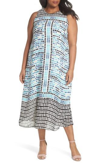 Nic And Zoe Plus Nic+zoe Plus Color Wave Printed Midi Dress In Multi