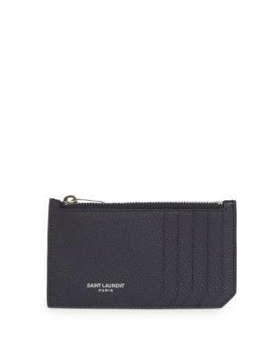 Saint Laurent Fragments Leather Zip Card Case In Marine