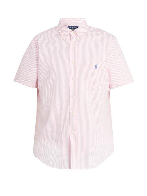 Polo Ralph Lauren Striped Cotton Shirt In Pink
