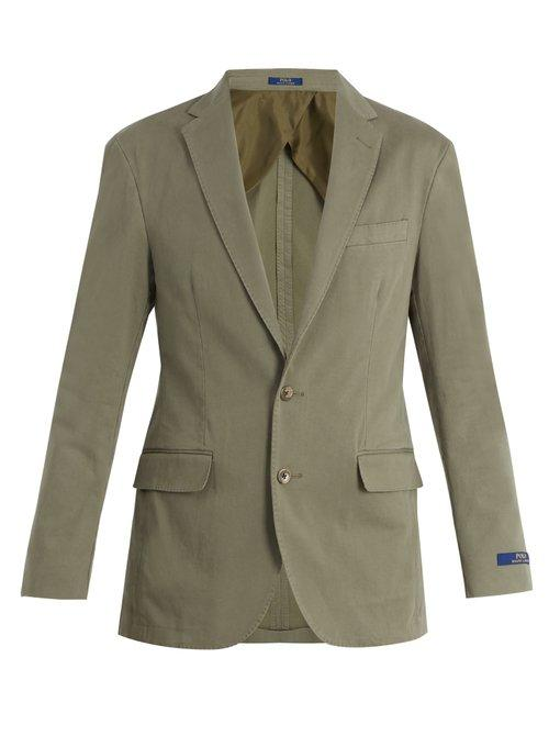 Polo Ralph Lauren Notch-lapel Cotton-blend Blazer In Green