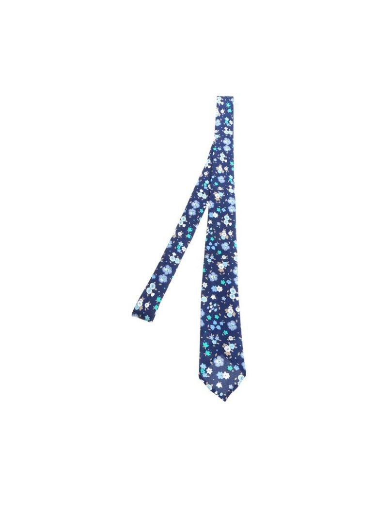 Luigi Borrelli Floral Pattern Tie In Blue