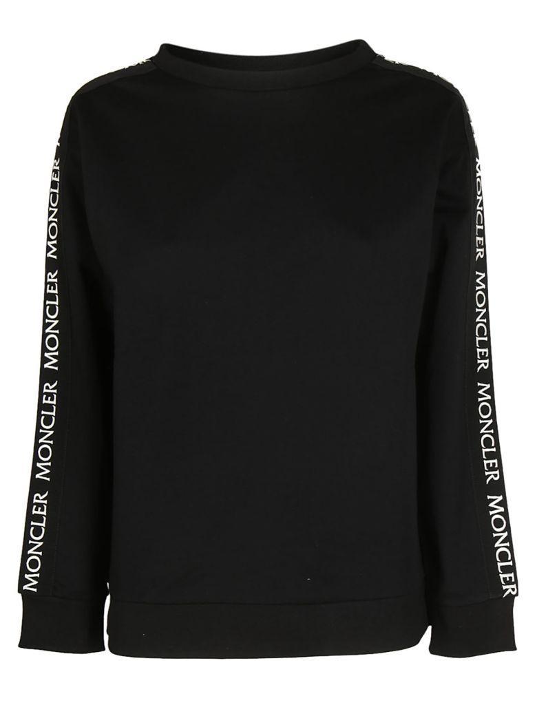Moncler Logo Print Sweatshirt In Nero
