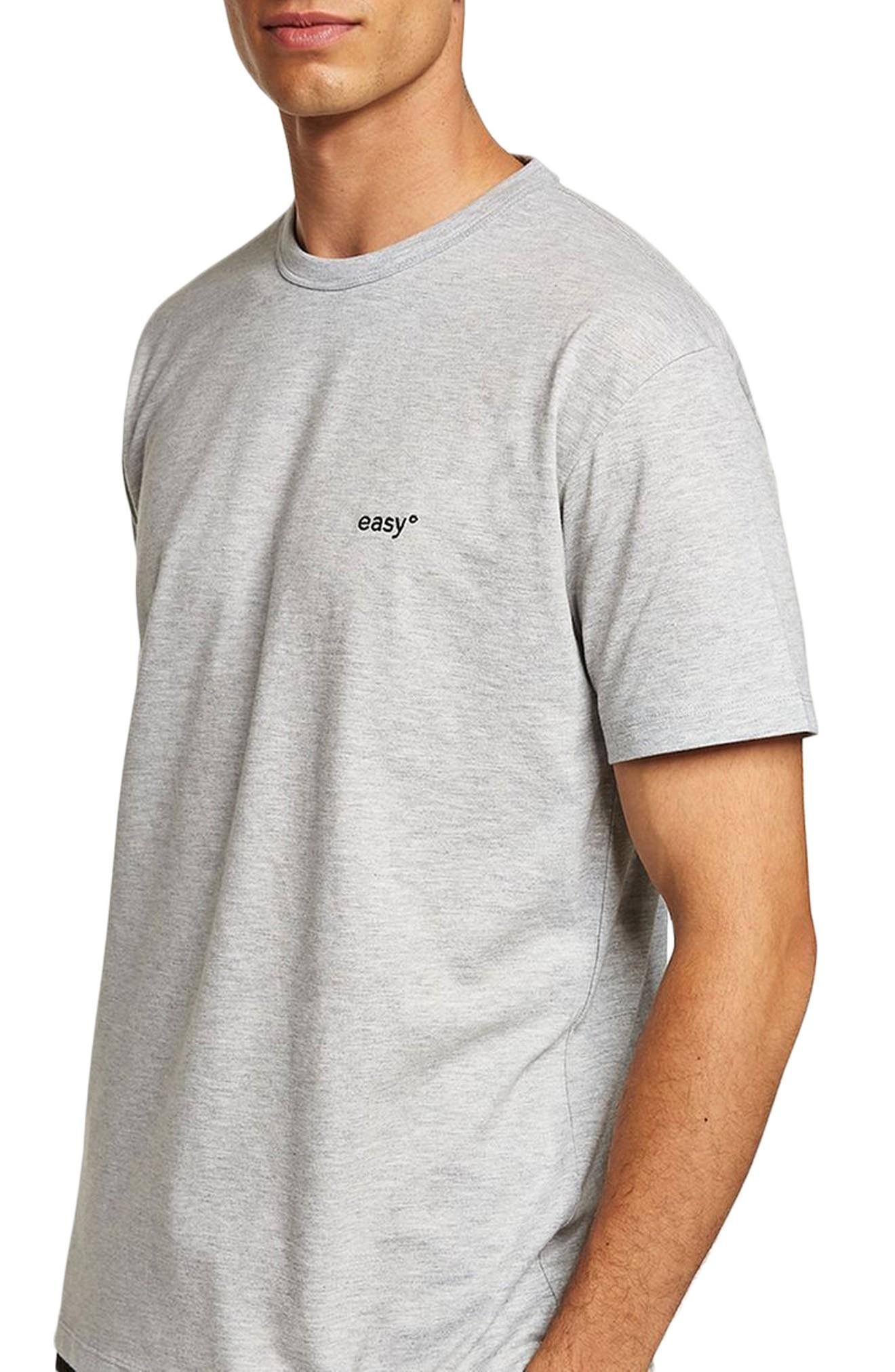 Topman Oversize Embroidered Easy T-shirt In Grey