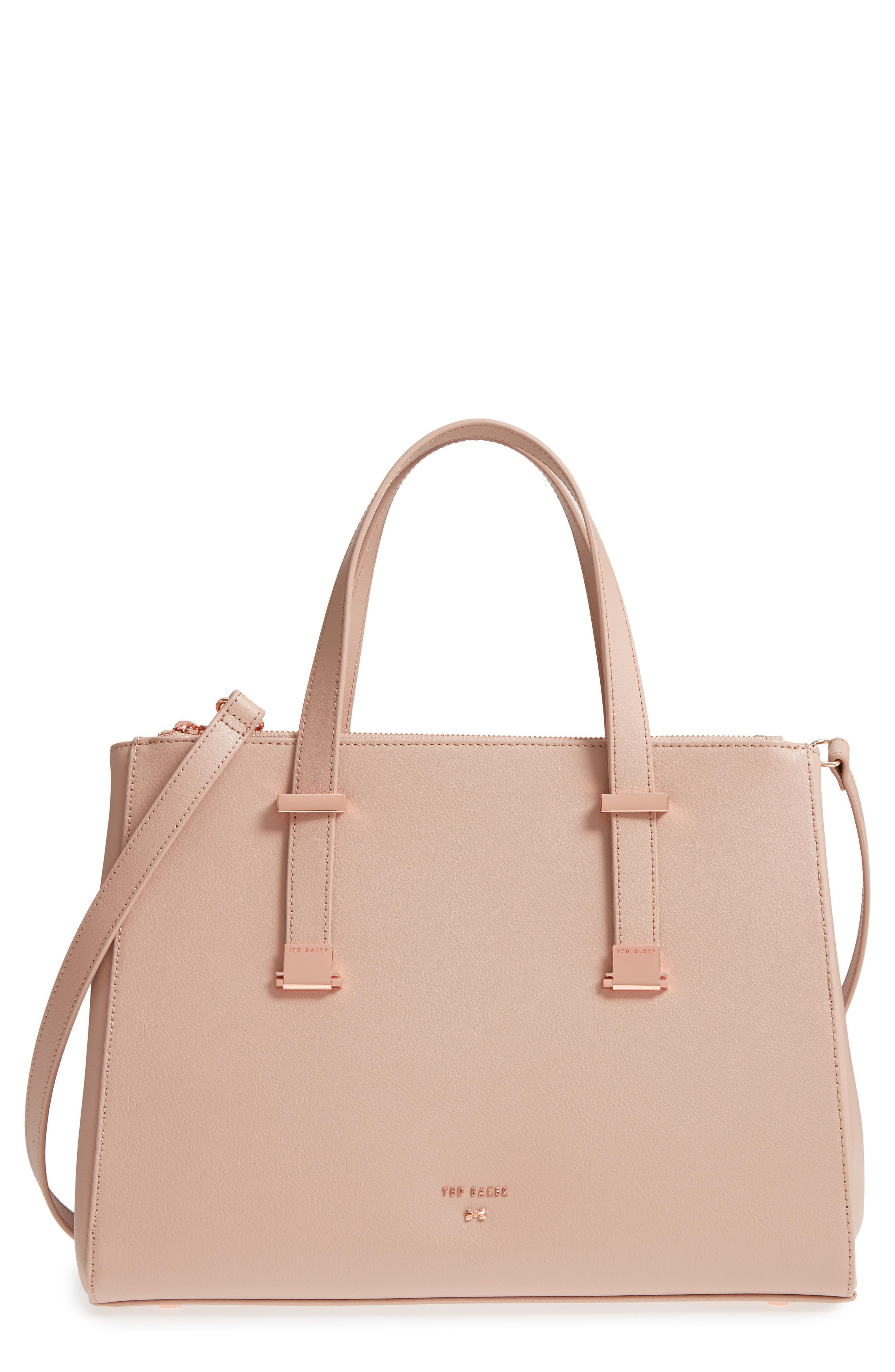 9f2baf79f6 Ted Baker Aminaa Large Adjustable Handle Leather Shopper - Pink In Mink