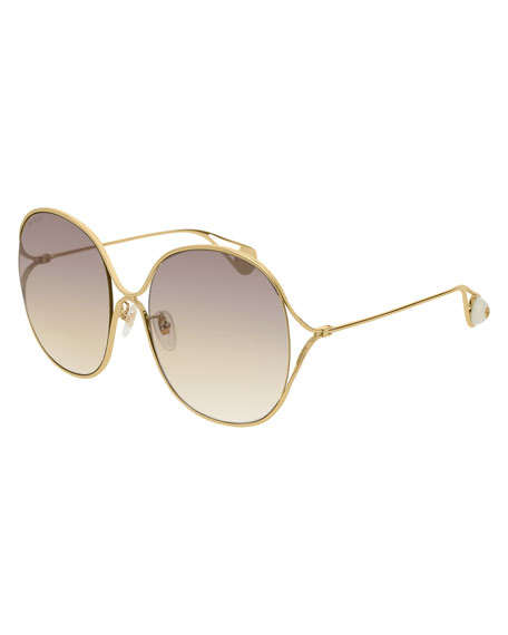 a8b3c90791f4a Gucci 57Mm Round Sunglasses - Gold  Pearl  Grey  Yellow