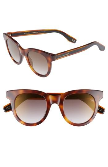 Marc Jacobs 47mm Round Lens Cat Eye Sunglasses - Dark Havana