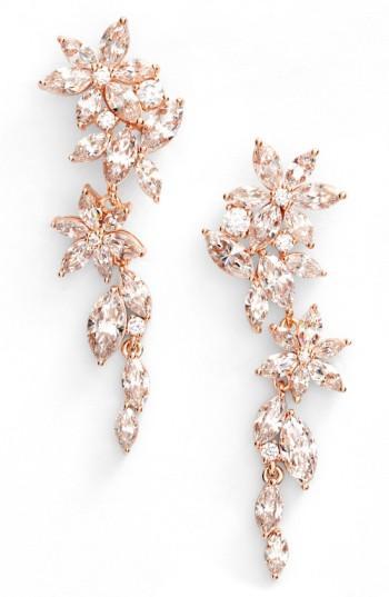 Nadri Flower Linear Drop Earrings In Rose Gold