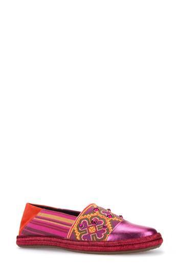 Geox Modesty Flat In Olive/ Light Purple Fabric