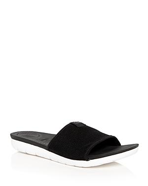 Fitflop Uberknit(tm) Slide Sandal In Black Leather