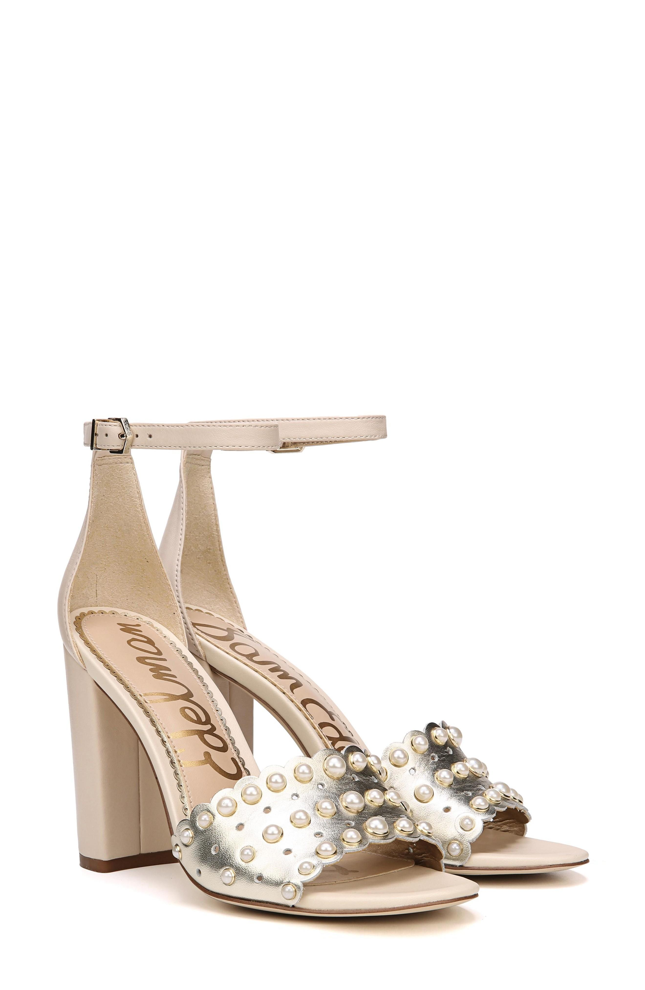 cf8bcd5f4 ... block-heel sandals that pair a slim ankle strap with scalloped leather  straps and polished studs. Style Name  Sam Edelman Yaria Studded Block Heel  ...