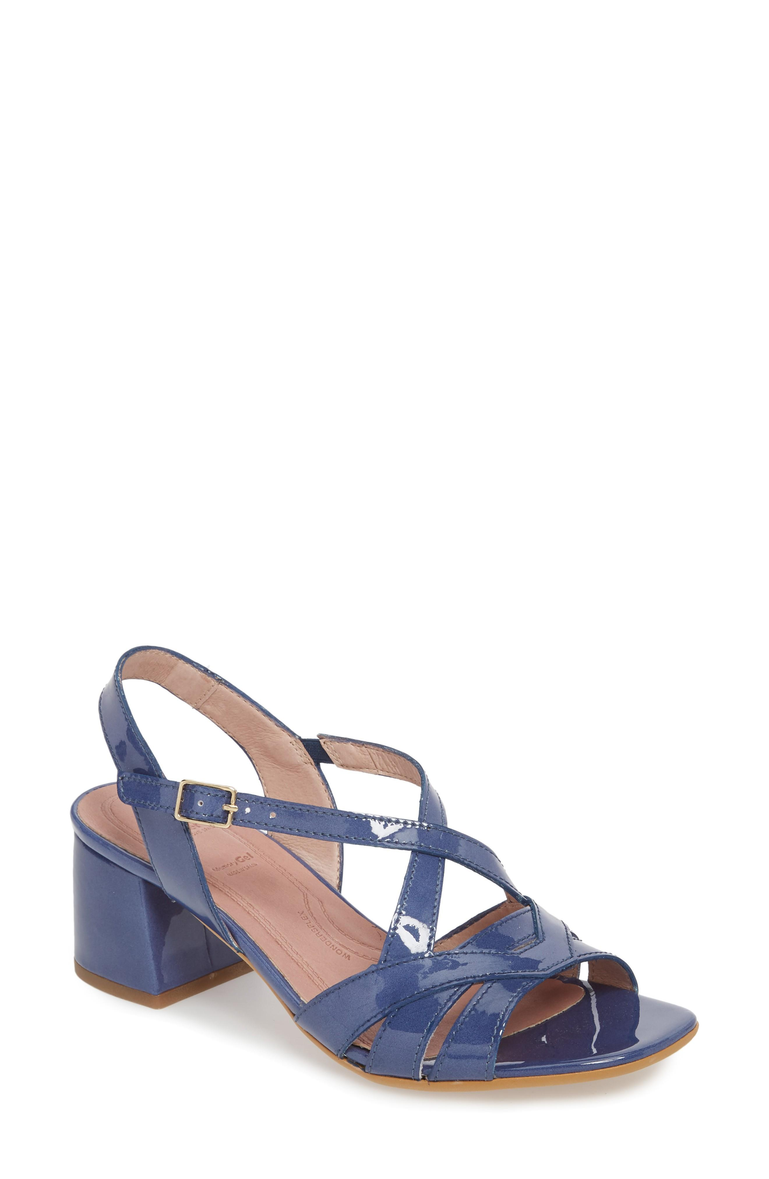 Wonders Block Heel Sandal In Jean Patent Leather