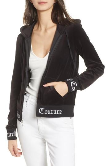 b4fc5eb2 Juicy Couture Robertson Jacquard Velour Hoodie In Pitch Black | ModeSens