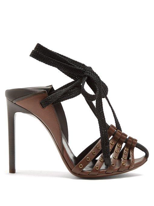 957e5e3531e7 Saint Laurent Majorelle   Mansour Leather Sandals In Chocolate-Brown ...