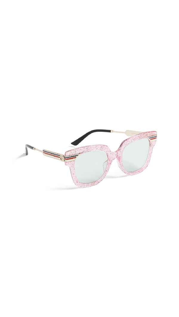 7d53c0b304b6 Gucci Metal & Glittered Acetate Square Sylvie Web Sunglasses, Pink In  Glitter Pink Gold Black