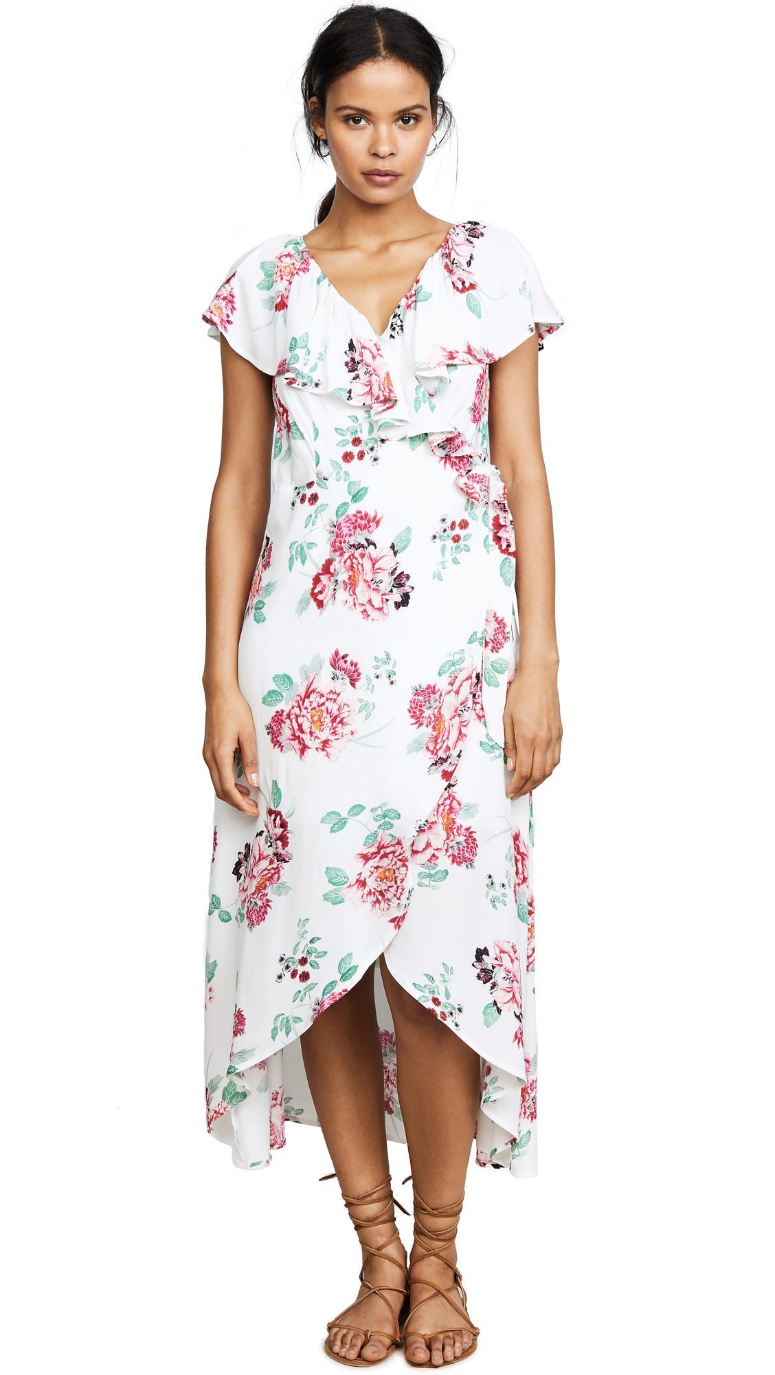 Minkpink Pretty Petals Wrap Front Dress In Multi