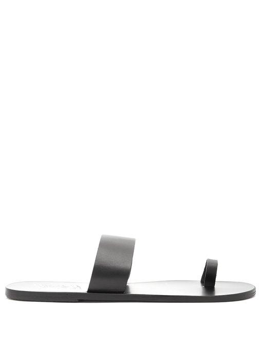 Ancient Greek Sandals Thalos Leather Sandals In Black