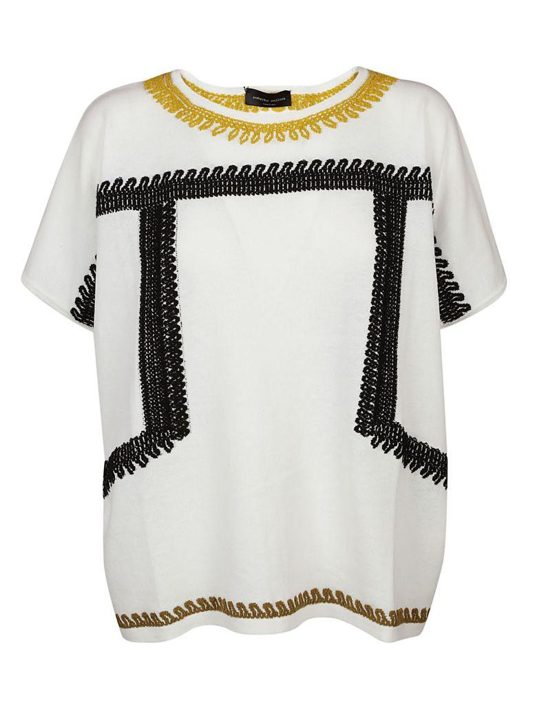 Roberto Collina Knitted Pattern T-shirt In Latte