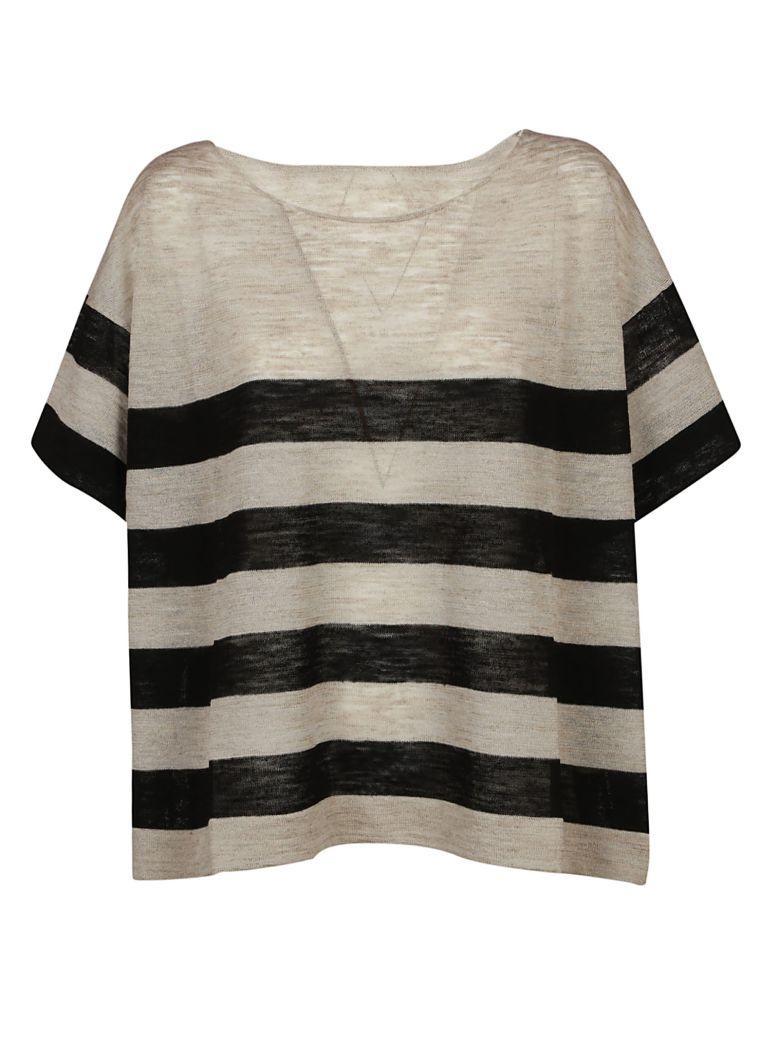 Roberto Collina Boxy Striped T-shirt In Nero