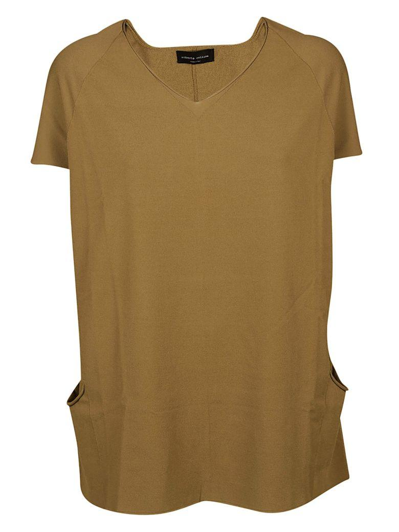 Roberto Collina V-neck T-shirt In Oliva