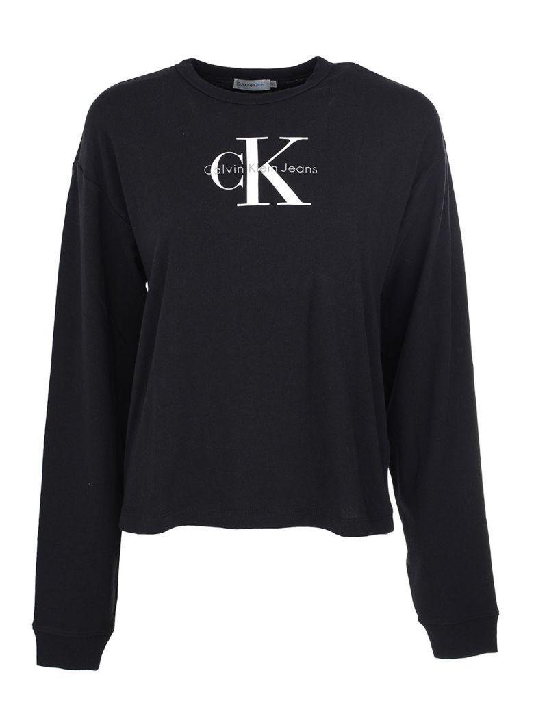 Calvin Klein Longsleeve Logo T-shirt In Black