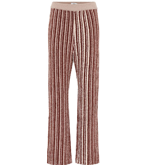 Acne Studios Jordiz Striped Trousers In Chocolate Stripe