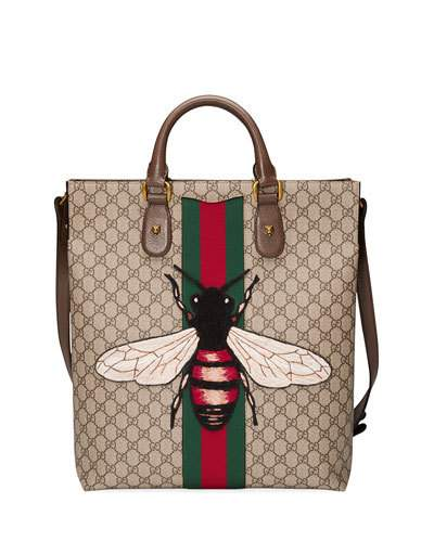 217aa721535e Gucci Men'S Bee-Embroidered Gg Supreme Canvas Tote Bag, Tan In Beige ...