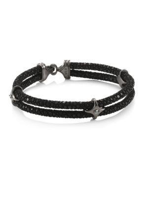 Stinghd Blackened Silver & Stingray Star Wrap Bracelet In Black Silver