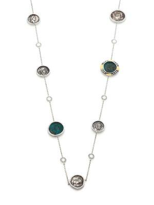 Coomi Silver Coin Diamond, Crystal, 20k Yellow Gold & Sterling Silver Station Necklace In Gold Multi