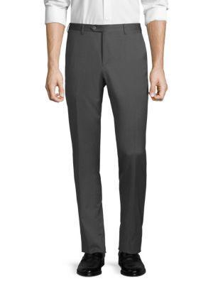 Corneliani Straight Wool Trousers In Grey