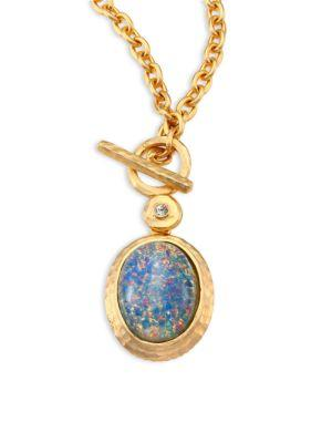 Kenneth Jay Lane Blue Opal & Crystal Toggle Pendant Necklace In Satin Gold