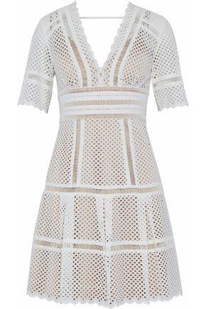 Catherine Deane Woman Inna Laser-cut Cotton Mini Dress Off-white