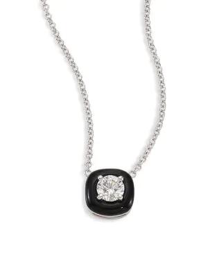 Nikos Koulis Oui Diamond, Enamel & 18k White Gold Pendant Necklace In White Gold Black