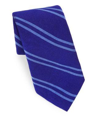 Polo Ralph Lauren Double Stripe Silk Tie In Royal Blue