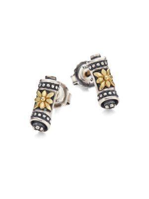 Konstantino Penelope 18k Yellow Gold & Sterling Silver Scroll Stud Earrings In Silver Gold
