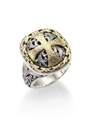 Konstantino Classics Daphne 18K Yellow Gold & Sterling Silver Filigree Cross Ring In Silver Gold