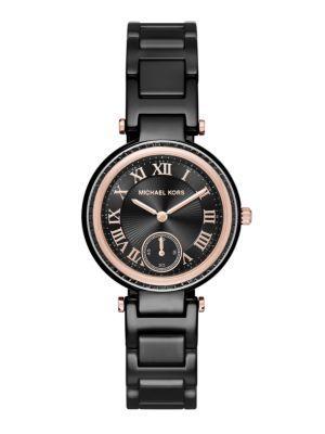 Michael Kors Skylar Mini Rose Goldtone Stainless Steel & Ceramic Bracelet Watch In Rose Gold Black