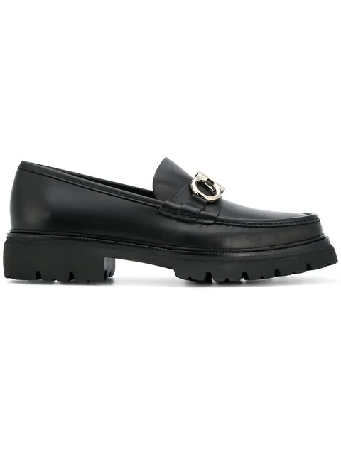 Salvatore Ferragamo Men's Bleecker Leather Lug-Sole Loafers With Reversible Bit In Black