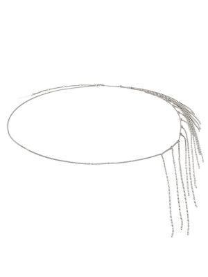 Dries Van Noten Crystal-fringe Belt In White