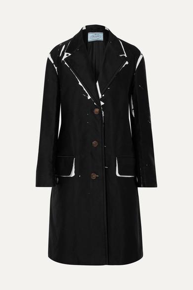 Prada Oversized Printed Denim Coat In Black