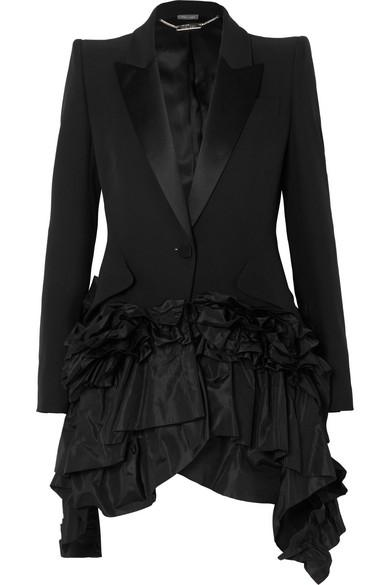 Alexander Mcqueen Ruffled Taffeta And Satin-trimmed Crepe Blazer In Black