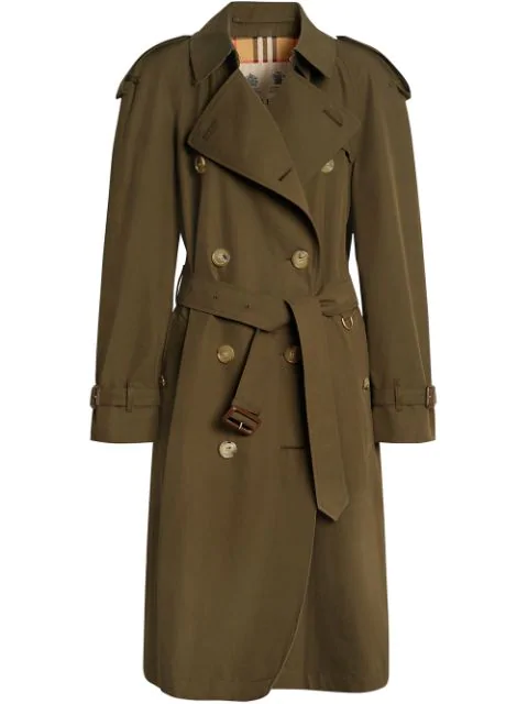 Burberry The Westminster Long Cotton-gabardine Trench Coat In Green