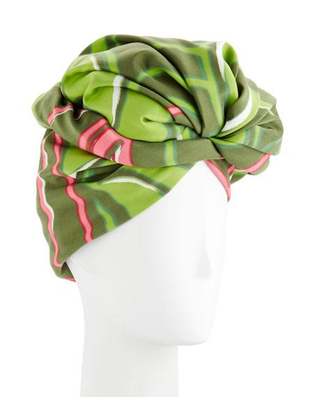 Marc Jacobs Graphic Flower Pattern Turban In Green Pattern