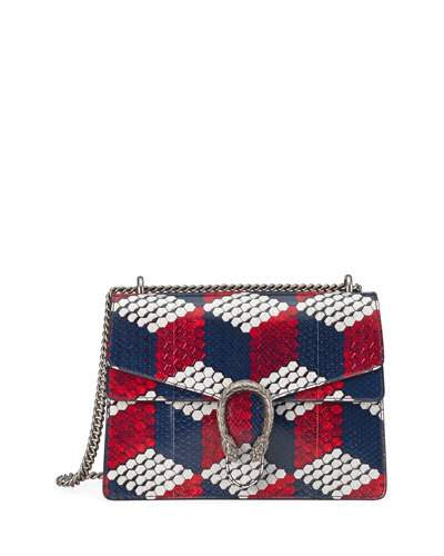 e7efa6813d62 Gucci Dionysus Medium Cubic-Python Shoulder Bag, Red/White/Blue In Multi