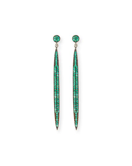 Margo Morrison Pave Spear Dangle Earrings In Green/black